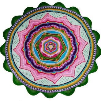 Ковер для медитаций Лотос Вселенной, узорный круглый ковер для медитаций диаметр 1,5 метра