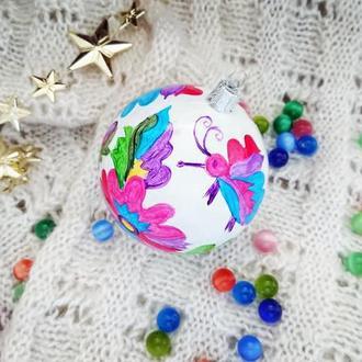 Елочный шар с  росписью, пластик