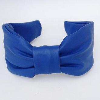 Обруч на голову ободок для волос синий из эко кожи