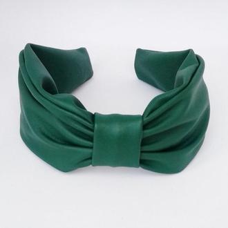 Обруч на голову ободок для волос зеленый из эко кожи