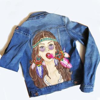 Ручная роспись Вашей джинсовой куртки (жилетки, толстовки) Любой рисунок на заказ