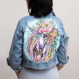 Джинсовая куртка с росписью Unicorn