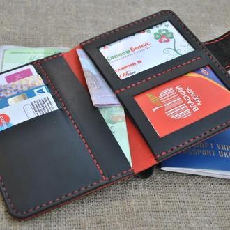 Холдер-портмоне для водителя из натуральной кожи D05-0+580+red