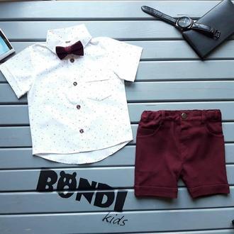 Нарядный костюм для мальчика, бордо, звезды, 80 р