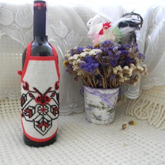"""Фартушек на бутылку """"Вышиванка"""""""