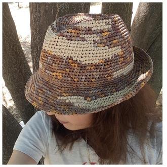 Шляпа федора из натуральной рафии