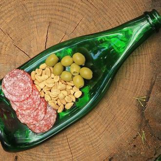 Винна пляшка тарілка для оливок, сиру, нарізок, смачної їжі і фруктів Champagne Green