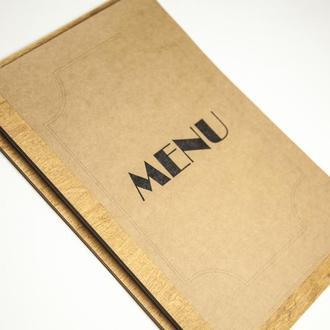 Папка меню из дерева для кафе и ресторана