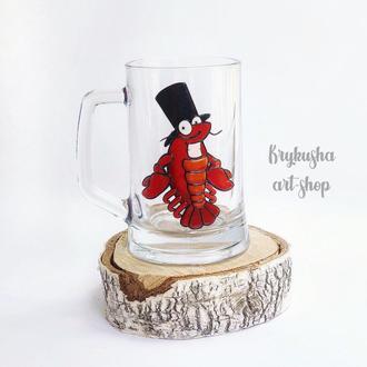 Пивной бокал с декором из полимерной глины