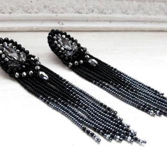 Черные серьги с хрустальными бусинами и кристаллами, бисерные серьги, серьги-кисти, бісерні сережки