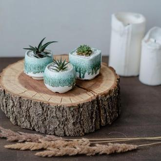 Белый керамический горшок для кактусов, суккулентов, коллекция Изумруд