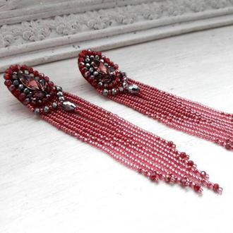 Темно-красные серьги с хрустальными бусинами и кристаллами, бисерные серьги, бісерні сережки