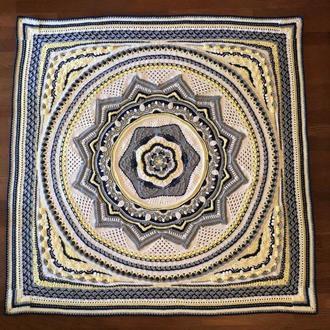 Эксклюзивный вязанный плед Мандала Любви, двухспальный, диаметр 2 метра