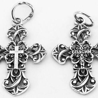 Крест серебряный без распятия Православный Крест.