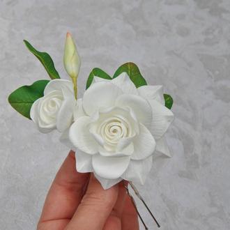Шпилька свадебная с белой гарденией Шпилька для волос с белыми цветами