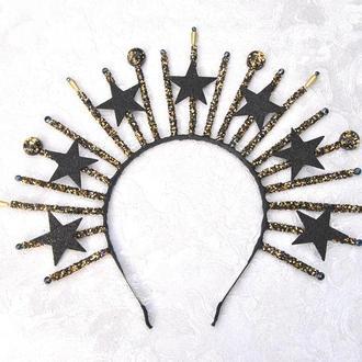 Черная готическая корона Тиара со звездами и кристалами корона к Хеллоуину