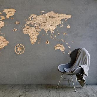Деревянная карта мира Primax-art 150 х 90 см с надписями стран, столиц и штатов,темно-коричневый
