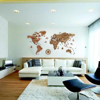 Деревянная карта мира Primax-art 200 х 120 см с надписями стран, столиц и штатов, темно-коричневый