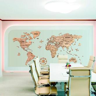 Деревянная карта мира Primax-art 300 х 180 см с надписями стран, столиц и штатов, темно-коричневый