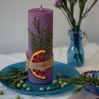 ЕКО свеча натуральная из вощины, ручной роботы для оригинального подарка и декора