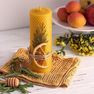 Натуральная ЕКО свеча из вощины. Гипоалергенная с запахом меда