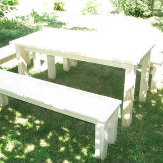 Дачный набор (стол + 1 маленькая лавка + 2 большие лавки)