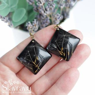 Чорні сережки ромби з насінням кульбабки • Серьги ромбы с одуванчиком черные в смоле