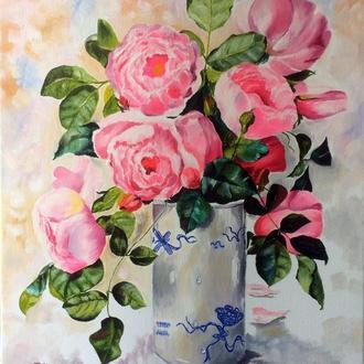 Картина маслом 40х50 Розы в вазе