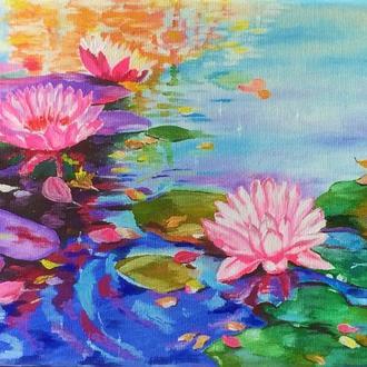 Картина маслом 20х30 Водяные лилии