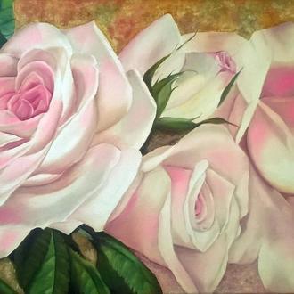 Картина маслом 40х60 Нежные розы