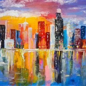 Картина маслом 30х50 Городской пейзаж