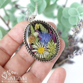 Подвеска фэнтези эльфийская поляна с лесными цветами • Кулон с лесными растениями • подарок любимой