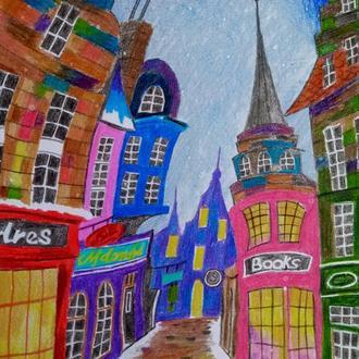 Рисунок А4 Городок Бумага. карандаши