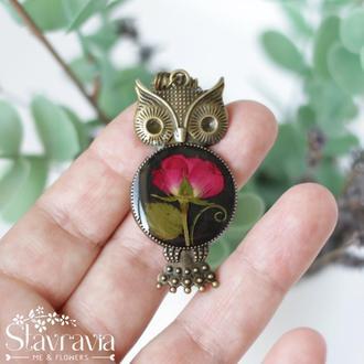 Підвіска Сова Загадкова з червоною трояндою • Кулон сова с розой • Подарок любимой на годовщину