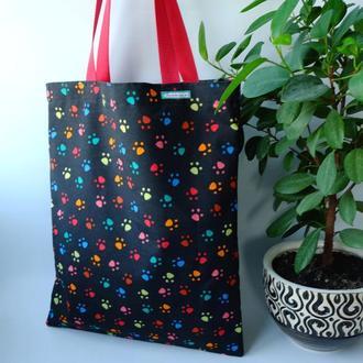 Эко сумка для покупок с лапками, сумка пакет, эко торба, котосумка, шоппер 51(1)