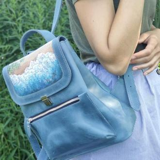 Голубой кожаный городской рюкзак в винтажном стиле