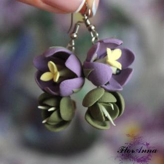 """Длинные серьги с цветами """"фиолетово-зеленые тюльпаны"""""""