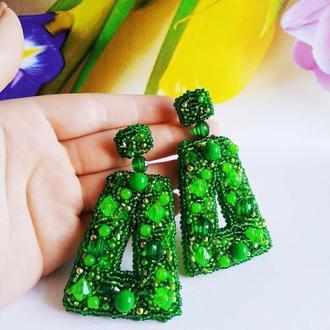 Красивые зеленые длинные серьги Подарок девушке