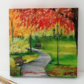 Картина маслом осенний парк холст на подрамнике, Природа в парке, Пейзаж маслом осень, Золотая осень