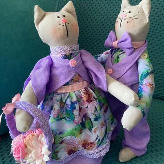 """Інтер'єрні текстильні весільні іграшки котики Тільда """"Лавандовий подих"""""""