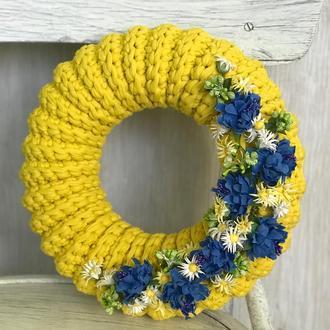 Веночек декоративный на дверь стену стол декор для дома подарок венок декор с полевыми цветами
