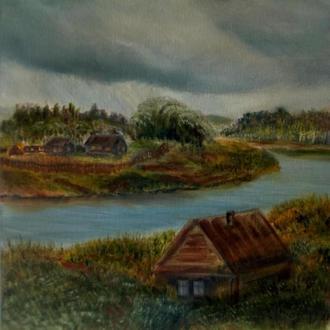 Картина маслом. Сельский пейзаж. 30х30 см