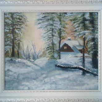 Картина маслом. Будиночок в лісі. 25х30 см