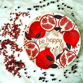 """""""Be happy"""" декоративная тарелка"""