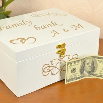 Шкатулка для денег на свадьбу из дерева ручной работы сундучок Семейный бюджет