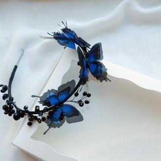 Синій обідок для волосся з метеликами , чорний кришталевий обідок для зачіски , прикраси для волосся