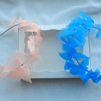 Ободок з метеликами , обруч для волосся з метеликами , прикраси для зачіски , метелики для волосся