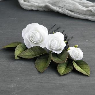 Шпильки с белыми маленькими розами / Свадебные шпильки в прическу с цветами