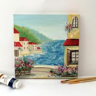 """Картина маслом """"Побережье Италии"""", Интерьерная картина, Пейзаж маслом, Красивый пейзаж"""