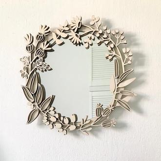 Зеркало с деревянной рамой Should Buy Wood 27 см Бежевая